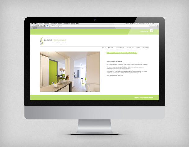 Website der Physiotherapiepraxis Sprengart